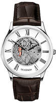 Sekonda 1202.00 Skeleton Leather Strap Watch, Brown/white