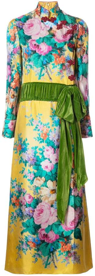 Gucci velvet belt floral gown