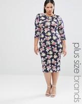Club L Plus Midi Dress In Floral Print