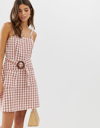 Asos DESIGN square neck linen mini sundress with wooden buckle & contrast stitch in gingham