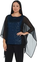 Bob Mackie Sequin Top with Chiffon Side Panels