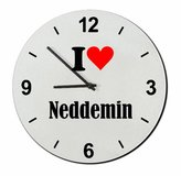 """Druckerlebnis24 Exclusive Gift Ideas: Glass Watch """"I Love Neddemin"""" a Great gift that comes from the Heart- Watch- Ø20 cm- Christmas Gift"""