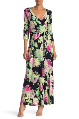 WEST KEI Floral 3/4 Length Sleeve Maxi Dress