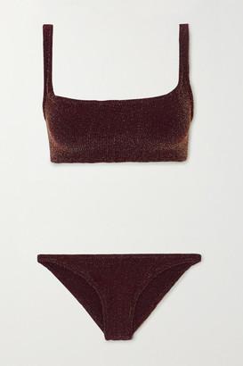 Hunza G Xandra Metallic Seersucker Bikini - Burgundy