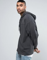 Asos Oversized Hoodie With Cut & Sew In Washed Black