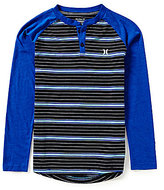Hurley Big Boys 8-20 Striped Long-Sleeve Thermal Henley Tee