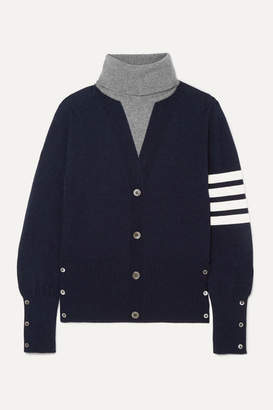 Thom Browne Button-detailed Striped Intarsia Cashmere Turtleneck Sweater - Navy
