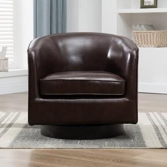 "Three Posts Cathy 28.5"" W Top Grain Leather Swivel Barrel Chair"