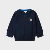Paul Smith Baby Boys' Navy Cotton-Cashmere Zebra-Logo Sweater