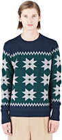 Kolor Men's Starry Intarsia Knit Sweater In Green