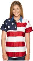 Roper S/S Stars and Stripes Pieced Flag Women's Short Sleeve Button Up