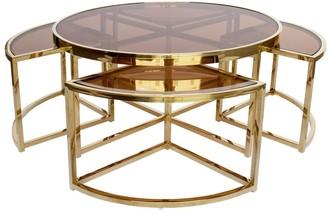 Darcy And Duke Sundance Nesting Coffee Table 5 Piece Gold With Tea Glass