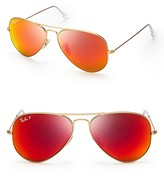 Ray-Ban Polarized Mirrored Aviator Sunglasses, 58mm