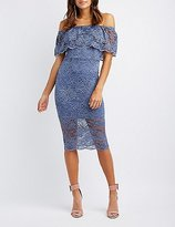 Charlotte Russe Lace Off-The-Shoulder Midi Dress