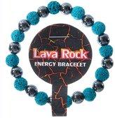 Frogsac Lava Rock with Hematite Beads Energy Stretch Bracelet