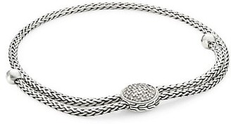 John Hardy Classic Chain Sterling Silver & Diamond Pave Ball Medium-Large Adjustable Bracelet