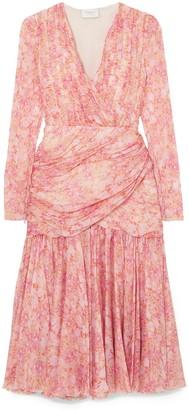 Giambattista Valli Gathered Floral-print Silk-chiffon Midi Dress