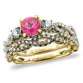 Sabrina Silver 14K Yellow Gold Diamond Natural Topaz 2pc Infinity Engagement Ring Set Round 5 mm, size 9