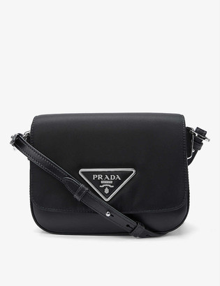 Prada Branded nylon and leather cross-body bag
