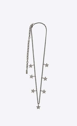 Saint Laurent Short Necklaces Smoking Tassel Necklace In Brass And Crystals Oxidized Silver Onesize