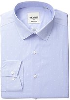 Ben Sherman Men's Polka Dot Shirt with Spread Collar, Blue/White, .9714285714286