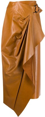 Isabel Marant Leather Wrap-Front Skirt