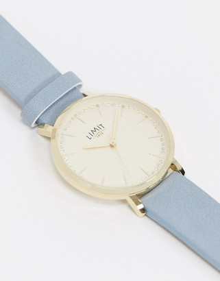 Limit faux leather watch in blue