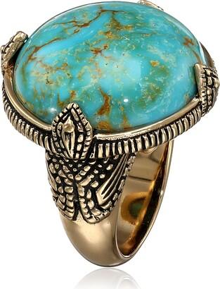 "Barse Village"" Genuine Turquoise Bronze Prong Ring Size 7"