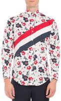 Thom Browne Floral-Print Diagonal-Stripe Shirt
