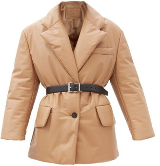 Prada Single-breasted Padded Leather Coat - Beige