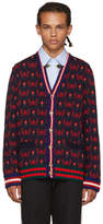 Gucci Navy and Red Skull Cardigan