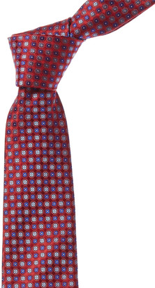 Canali Red & Blue Floral Silk Tie