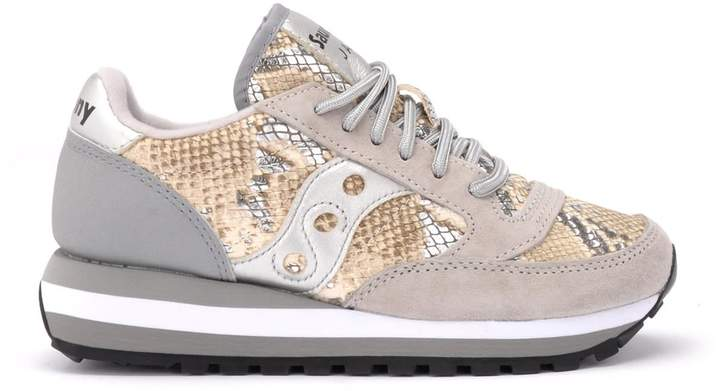 Gray and python Triple Jazz sneakers