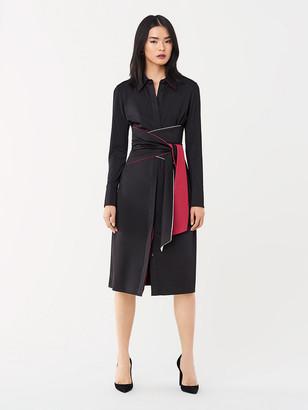 Diane von Furstenberg Suzanne Slinky Jersey Belted Shirt Dress