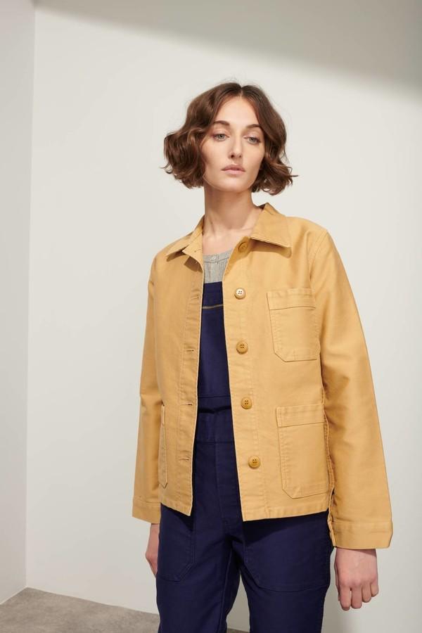 Le Mont St Michel Kraft Cotton Moleskin Womens Genuine Work Jacket - 44 - Orange
