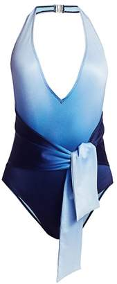 Jonathan Simkhai Ombre One-Piece Halter Swimsuit