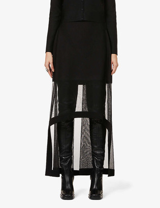 Alexander McQueen Mesh-panel high-waist silk-blend maxi skirt