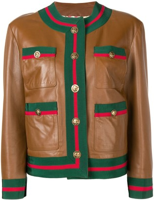 Gucci Web trim leather jacket