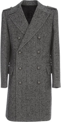 Balmain Dbl Breasted Chevron Wool Coat