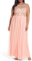 Adrianna Papell Plus Size Women's Beaded Illusion Bodice Gown