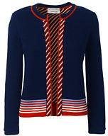 Lands' End Women's Petite Supima 3/4 Sleeve Reversible Cardigan Sweater-Sweet Persimmon Stripe