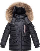 Moncler Boys' Lilian Hooded Puffer Coat, Navy, Size 8-14