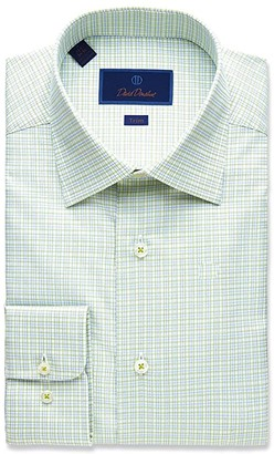 David Donahue Trim Fit Fine Line Twill Plaid Dress Shirt (Grass) Men's Clothing
