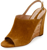 Valentino Erin B. Suede Wedge Sandal, Tan/Camel