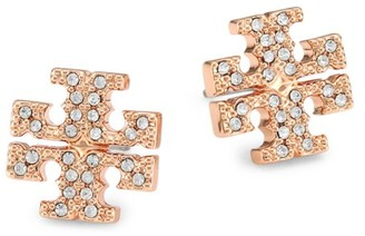 Tory Burch Rose Goldtone Pave Logo Stud Earrings