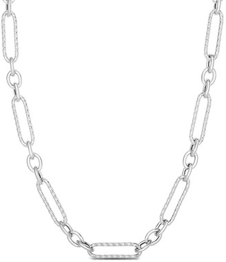 Sphera Milano 14K Over Silver Textured Long Link Necklace
