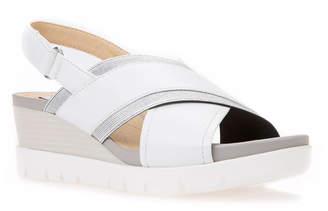 Geox Mary Karmen Leather Slingback Wedge Sandals