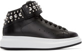 Alexander McQueen Black Leather Studded High-Top Sneakers