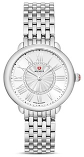 Michele Serein Mid Stainless Diamond Dial Watch, 36mm