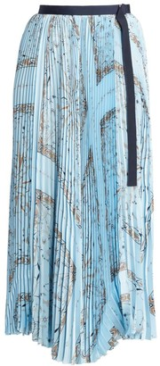 Sacai Dr. Woo Bandana-Print Pleated Midi Skirt